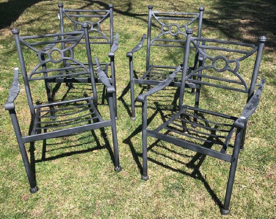 Four Black Metal Patio Armchairs