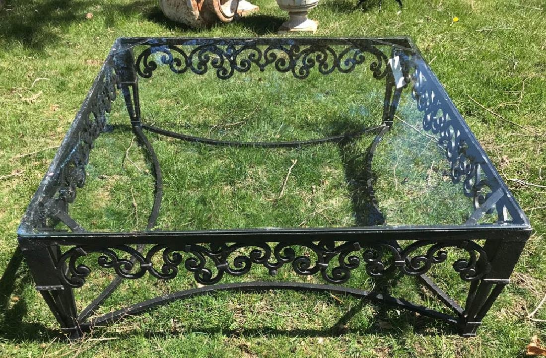 Large Ornate Black Metal Square Table