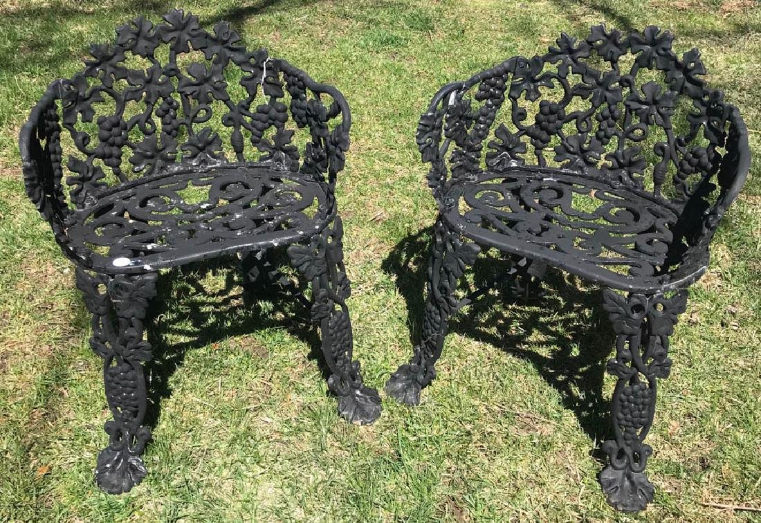 Pair of Black Metal Garden Chairs