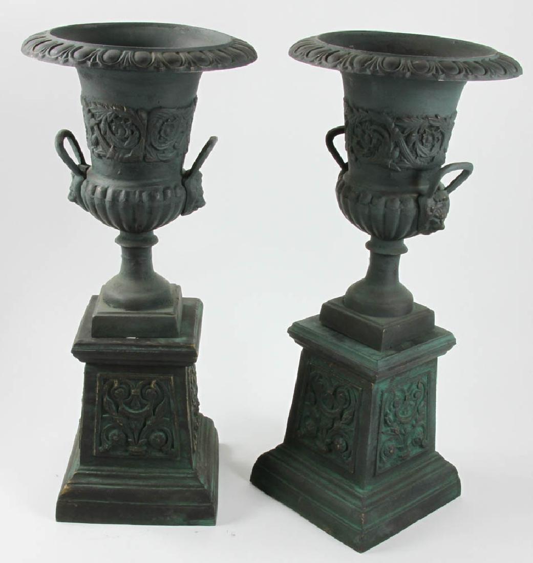 Pair of Victorian Style Urns on Pedestals