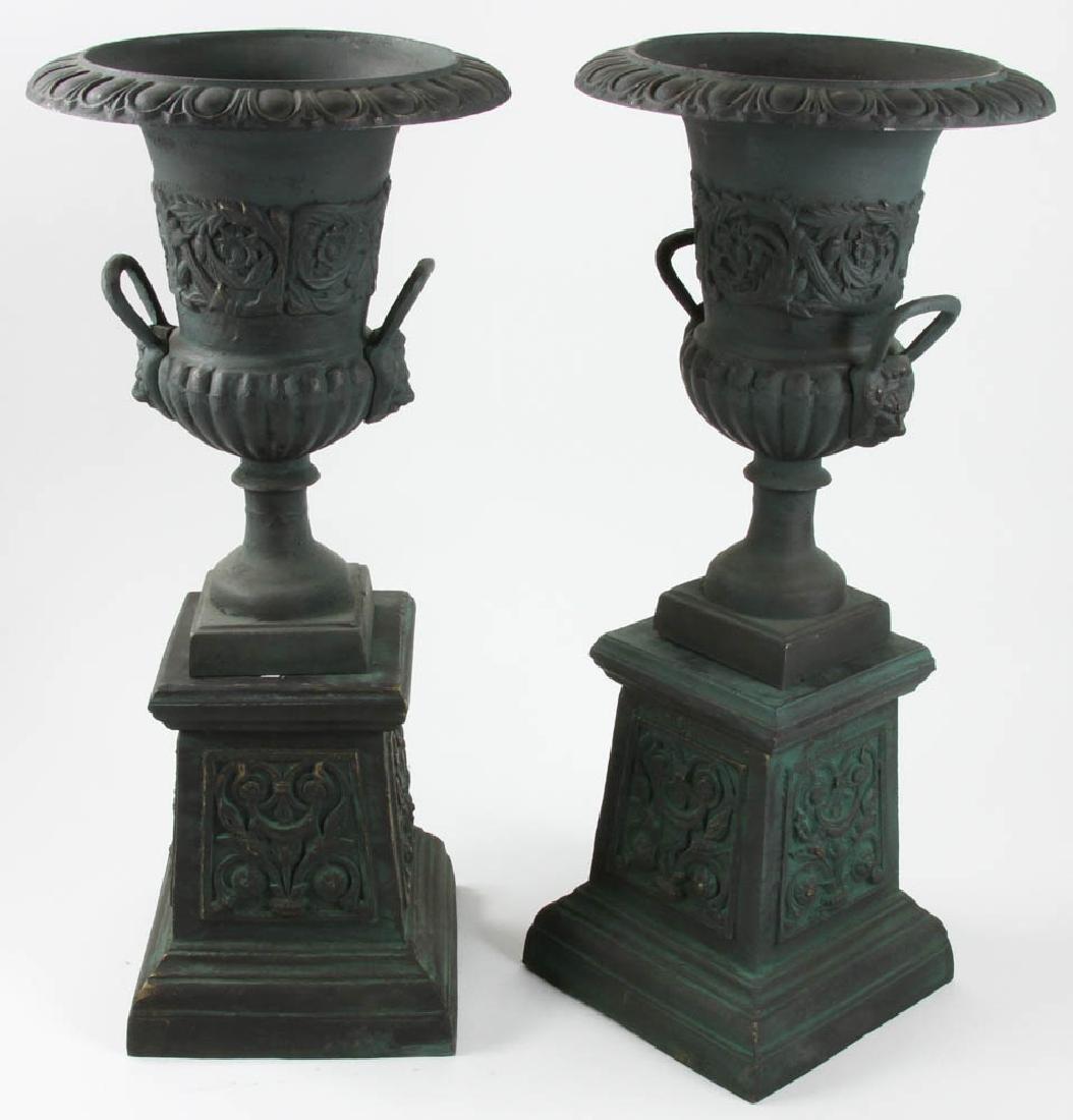 Pair of Victorian Style Urns on Pedestals - 2