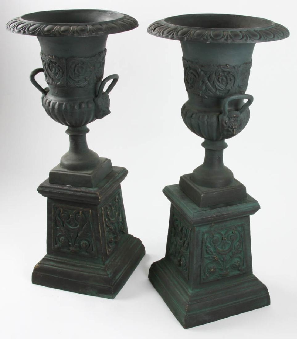 Pair of Victorian Style Urns on Pedestals - 3