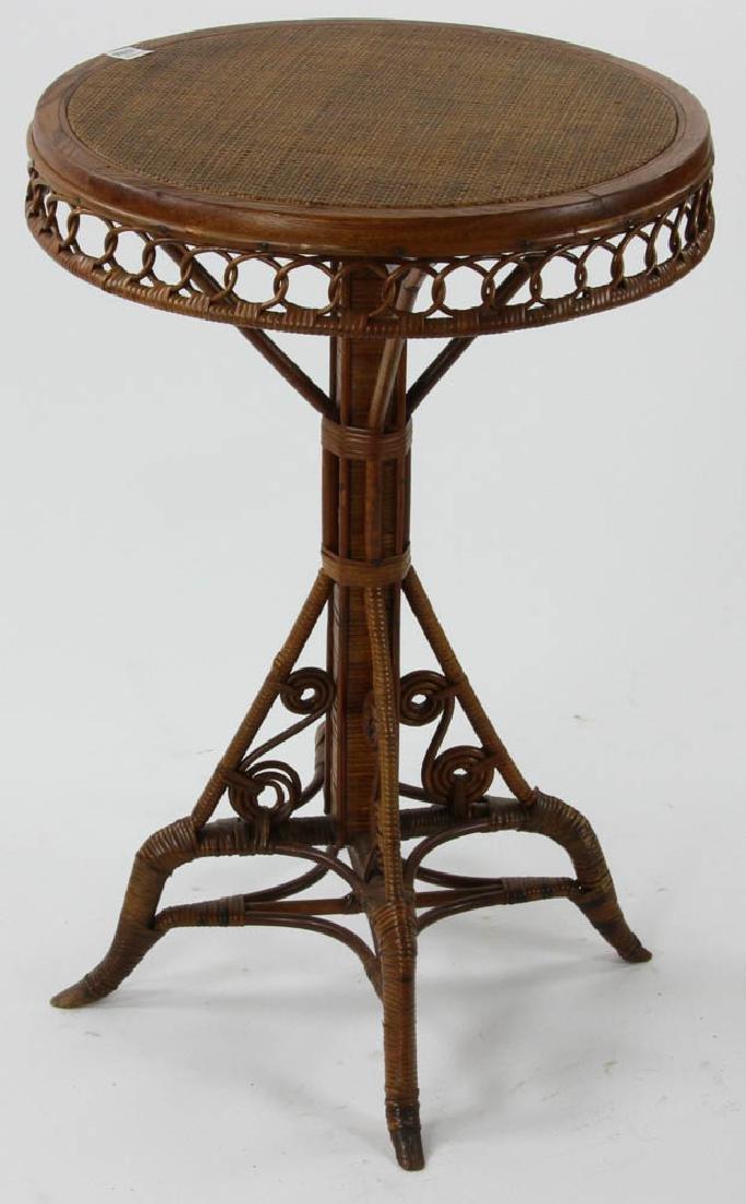 Victorian Rattan Wicker Circular Top Table