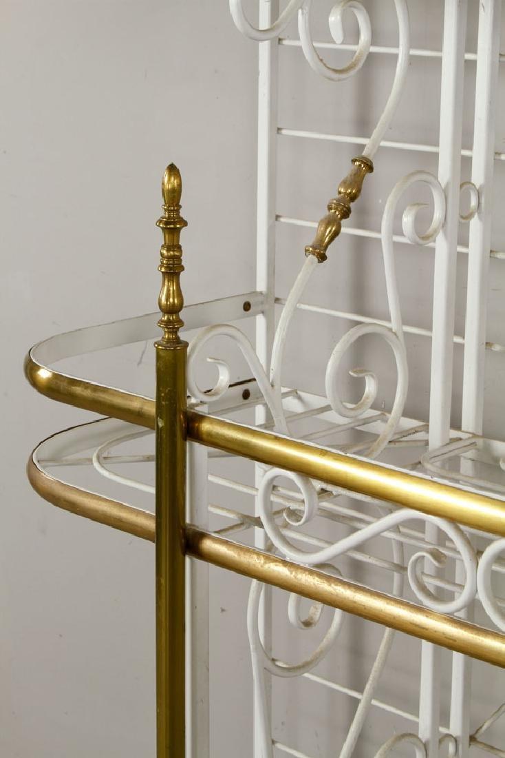 White Painted Brass Baker's Rack - 3