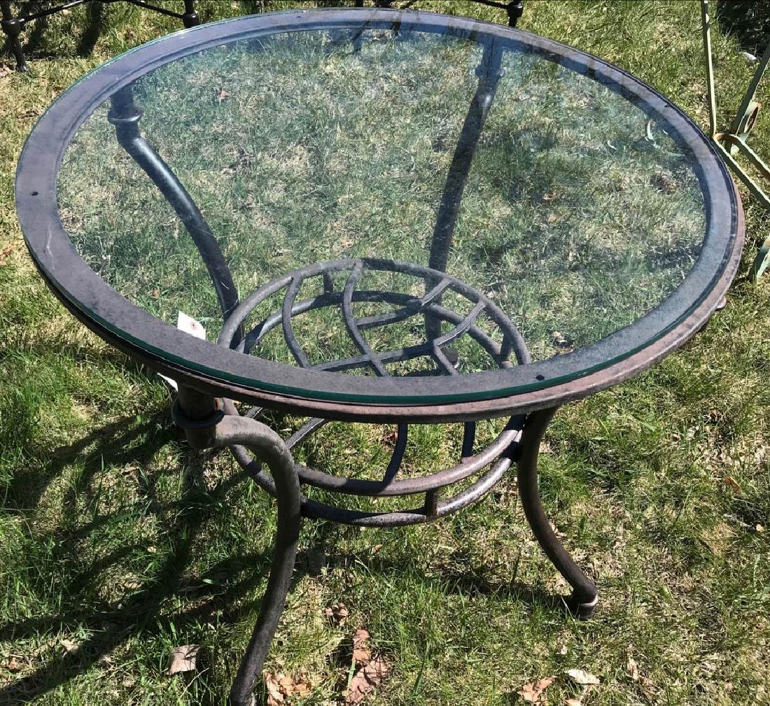 Iron Garden Table with Glass Top