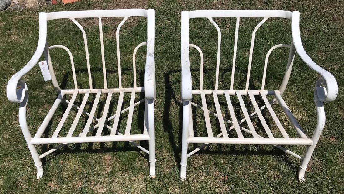Pair of White Painted Aluminum Armchairs