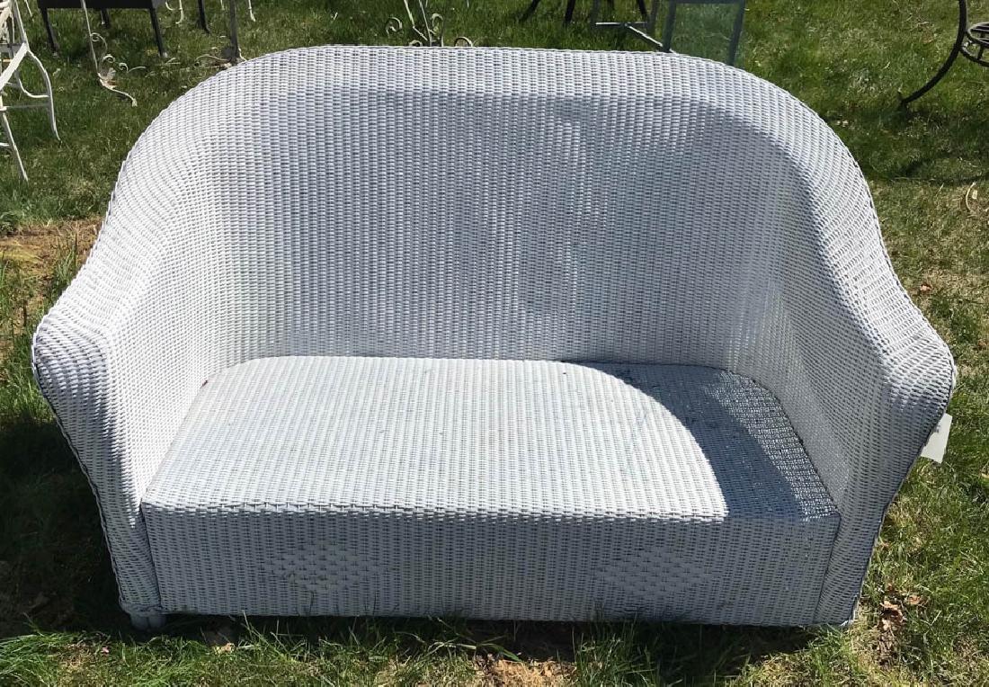 1920s White Painted Rattan Sofa