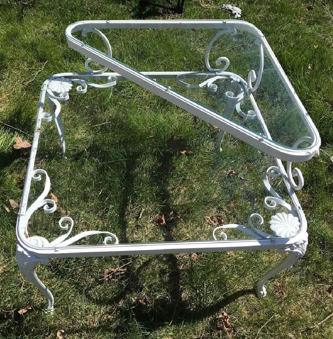 White Wrought Iron Corner Table