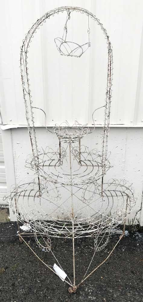 Vintage White Wire Plant Stand