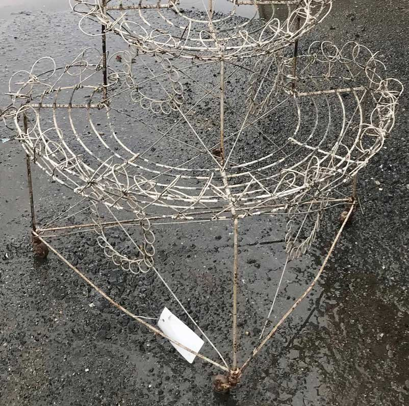 Vintage White Wire Plant Stand - 2