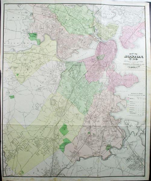 2018: Map: Boston, 1875, HC Lithograph, J.H. Bufford's