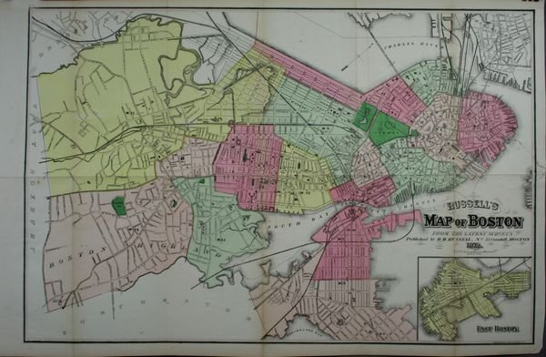 2019: Russell'S Map Of Boston, C1872, HC Lithograph
