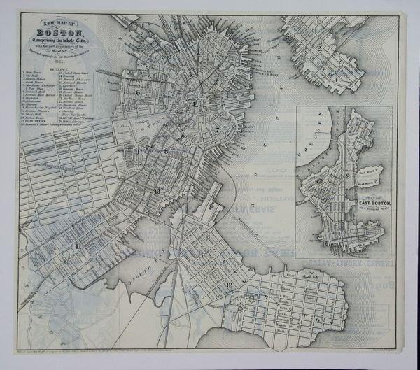 2021: Boynton, C1861 New Map Of Boston, Engraving