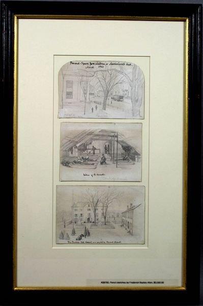 2357: (3) Civil War Era Drawings of Harvard, Cambridge
