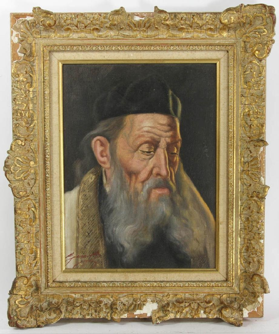 20thC Portrait of Rabbi, Oil on Canvas