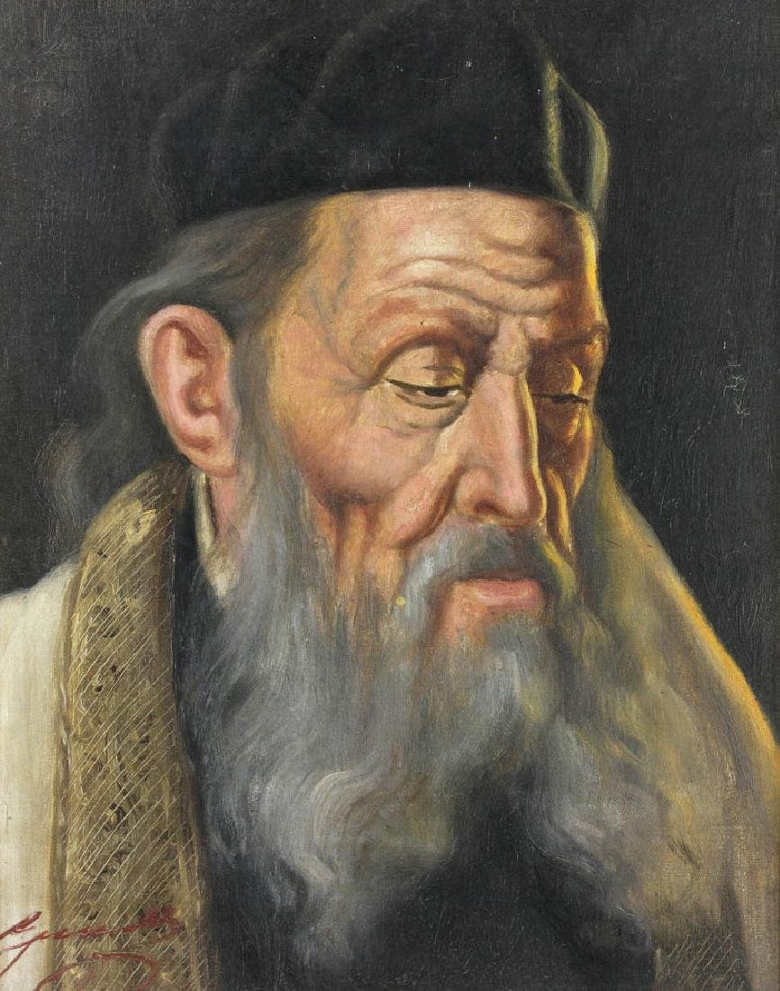 20thC Portrait of Rabbi, Oil on Canvas - 2