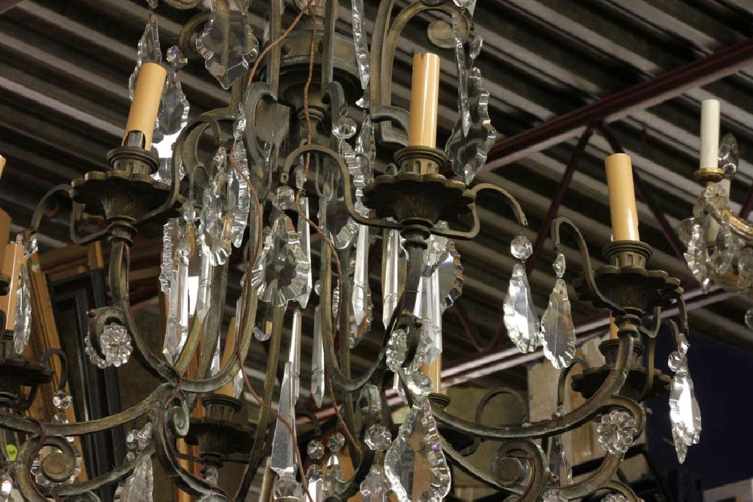 Antique Bronze and Crystal Chandelier - 3