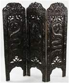 19thC Chinese Screen with Carved Dragons