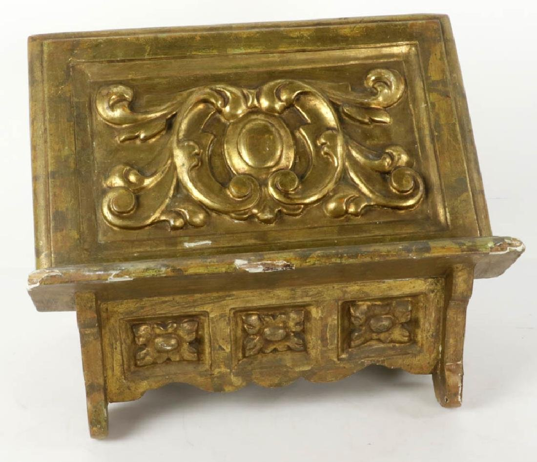 19thC Italian Baroque Giltwood Book Stand