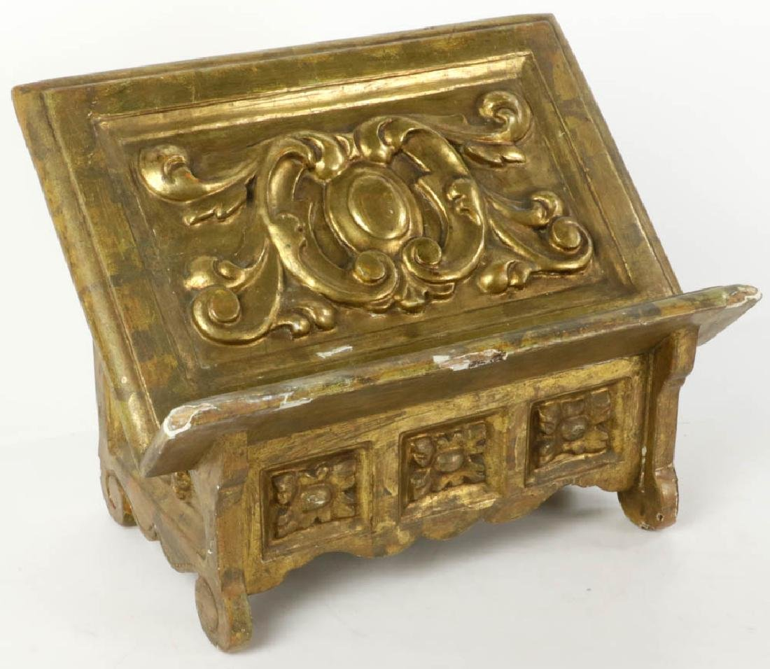 19thC Italian Baroque Giltwood Book Stand - 2