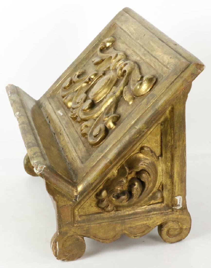 19thC Italian Baroque Giltwood Book Stand - 3