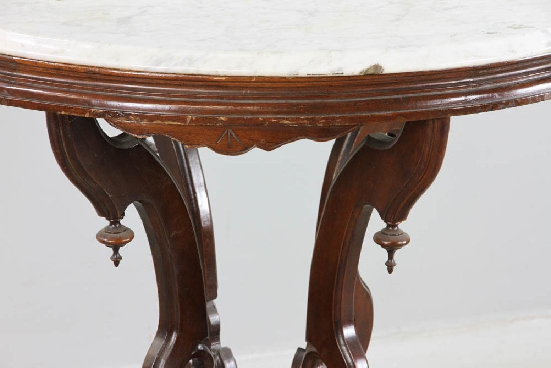 Victorian Walnut Marble Top Table - 3