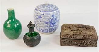 Group of Chinese Items, Vase, Bottle, Jar, Box