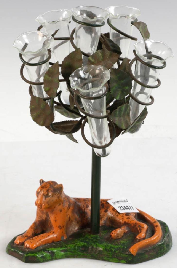 Cast Iron Painted Bud Vase