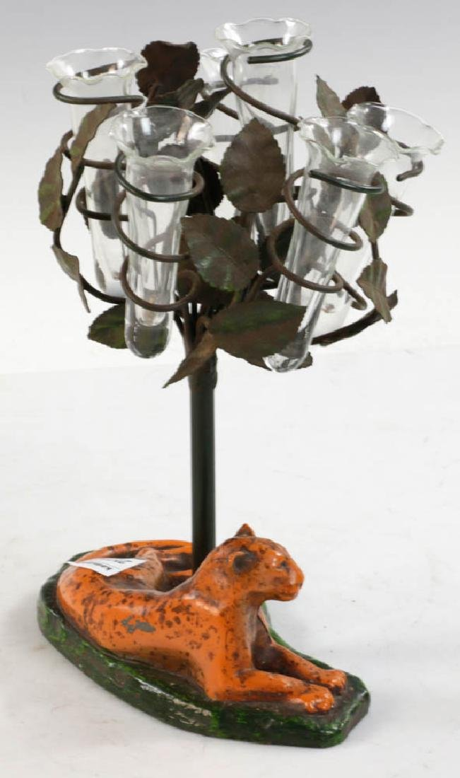 Cast Iron Painted Bud Vase - 4