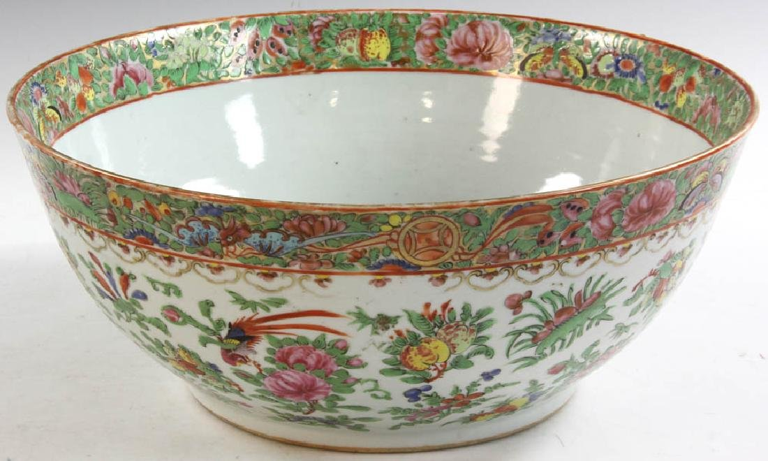 19thC Chinese Rose Medallion Punch Bowl
