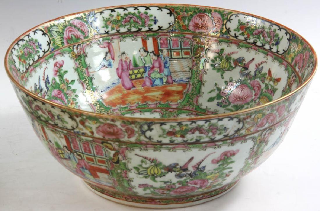 19thC Chinese Rose Medallion Punch Bowl