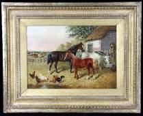 JF Herring Jr Horses with Farm Scene