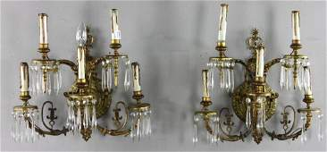 Early 20th C French Bronze Wall Sconces