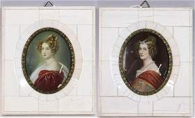 Two Miniature Portraits of Ladies, Signed
