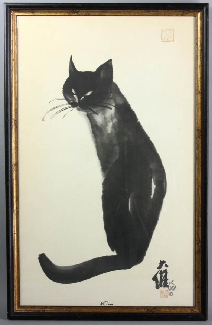 Mid 20thC Japanese Print of Cat