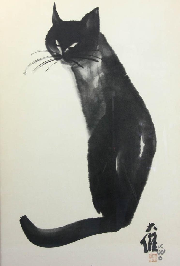 Mid 20thC Japanese Print of Cat - 2