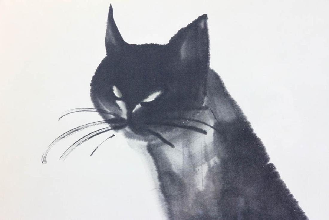 Mid 20thC Japanese Print of Cat - 5