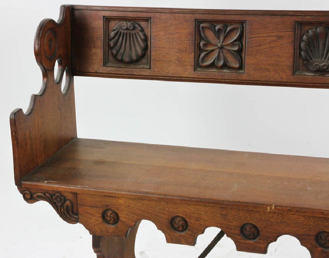 Carved Spanish Colonial Style Bench - 3