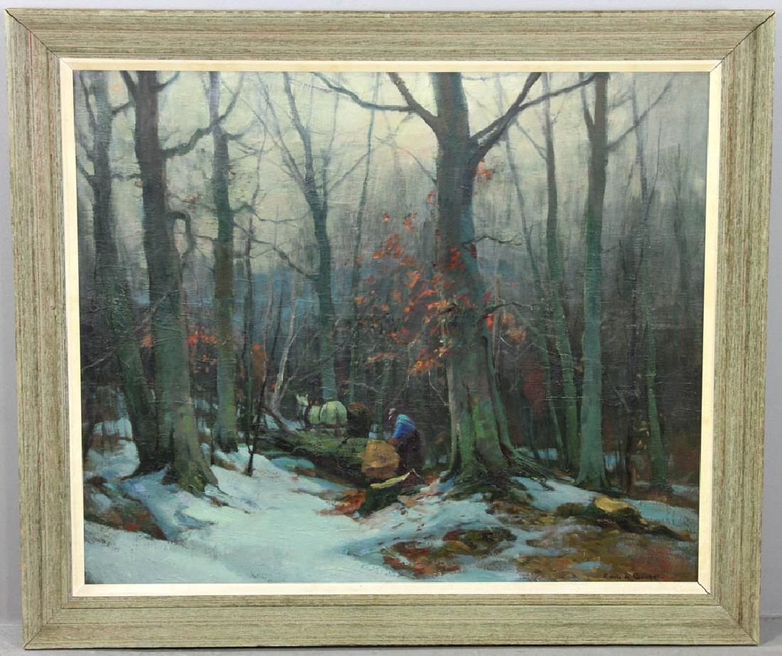 Emile Gruppe Wood Cutter Oil on Canvas