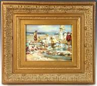 Sinclair Signed Oil on Canvas Beach Scene