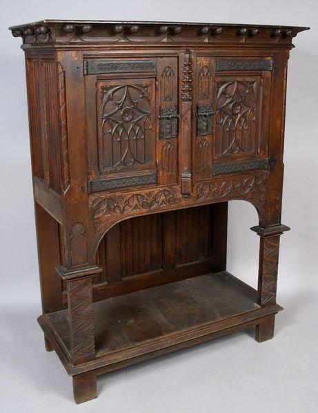 3004: 19th Century Gothic Oak Carved Walnut Cabinet