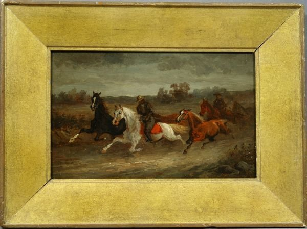 3006: Late 19th C., Horses and Riders, o/c on panel