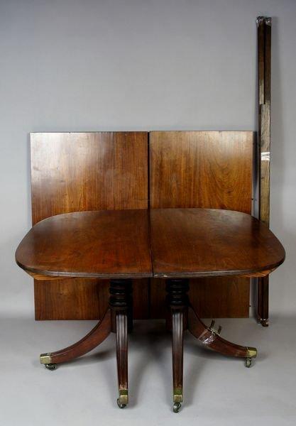 3009: 19thC American Double Pedestal Mahogany Table