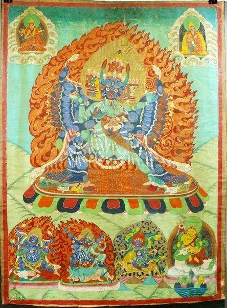 3011: 19th Century Linen Tibetan Tangka, Hand-Painted