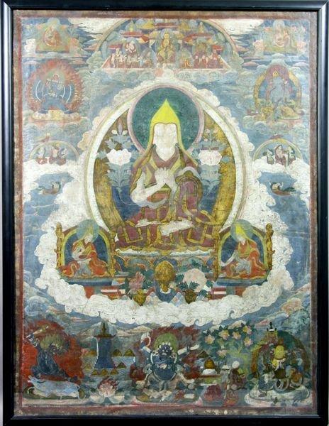 3013: 18/19th Century Tibetan Tangka, Framed