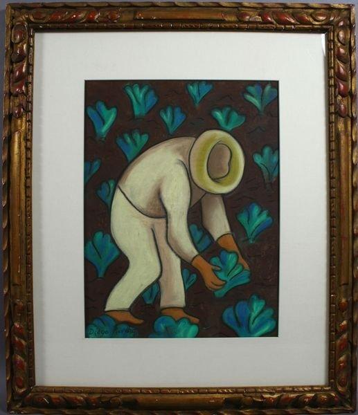 3016: School of Diego Rivera, Field Worker, Pastel