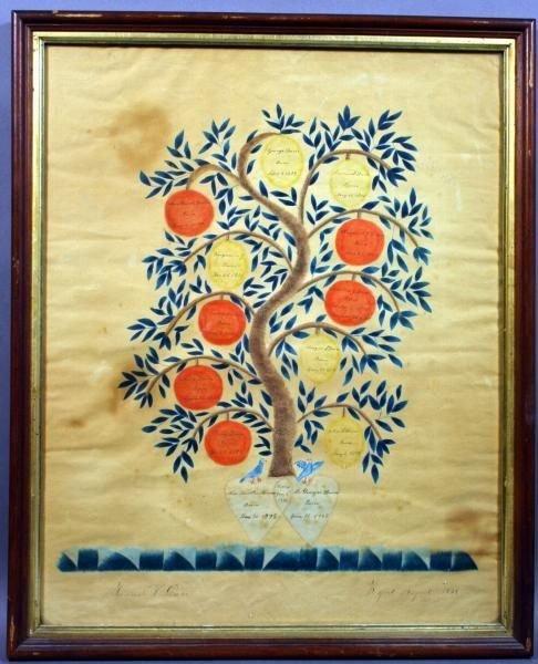 3032A: Folk Art Family Tree w/c, Hannah Davis, 1825
