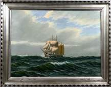 3158 Mid 20th C Marine Sailing Ship oc O Palmer
