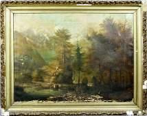 3216: 19th C., Western Landscape w/ Mountains, o/c