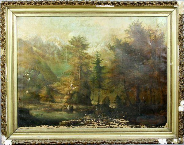 19th C., Western Landscape w/ Mountains, o/c